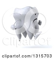 Clipart Of A 3d Unhappy Tooth Character Sprinting To The Right Royalty Free Illustration