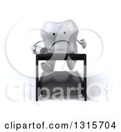 Clipart Of A 3d Unhappy Tooth Character Holding Plans And Running On A Treadmill Royalty Free Illustration