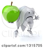 Clipart Of A 3d Unhappy Tooth Character Facing Slightly Right Jumping And Holding A Green Apple Royalty Free Illustration