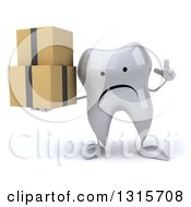 Clipart Of A 3d Unhappy Tooth Character Holding Up A Finger And Boxes Royalty Free Illustration