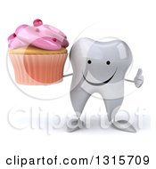 Clipart Of A 3d Happy Tooth Character Giving A Thumb Up And Holding A Pink Frosted Cupcake Royalty Free Illustration