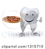 Clipart Of A 3d Happy Tooth Character Giving A Thumb Up And Holding A Pizza Royalty Free Illustration