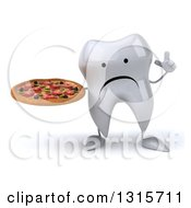 Clipart Of A 3d Unhappy Tooth Character Holding Up A Finger And A Pizza Royalty Free Illustration