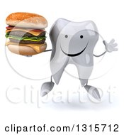 Clipart Of A 3d Happy Tooth Character Jumping And Holding A Double Cheeseburger Royalty Free Illustration