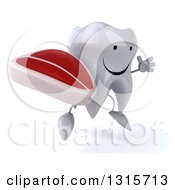 Clipart Of A 3d Happy Tooth Character Facing Slightly Right Jumping And Holding A Beef Steak Royalty Free Illustration