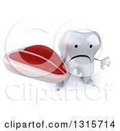 Clipart Of A 3d Unhappy Tooth Character Holding Up A Thumb Down And A Beef Steak Royalty Free Illustration