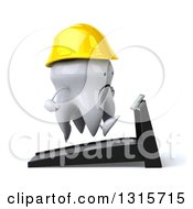 Clipart Of A 3d Unhappy Contractor Tooth Character Facing Right And Running On A Treadmill Royalty Free Illustration
