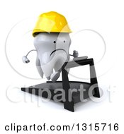 Clipart Of A 3d Unhappy Contractor Tooth Character Facing Slightly Right And Running On A Treadmill Royalty Free Illustration