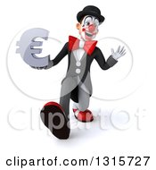 Clipart Of A 3d White And Black Clown Speed Walking Waving And Holding A Euro Symbol Royalty Free Illustration