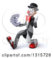 Clipart Of A 3d White And Black Clown Speed Walking To The Left Waving And Holding A Euro Symbol Royalty Free Illustration