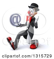 Clipart Of A 3d White And Black Clown Walking To The Left Waving And Holding An Email Arobase At Symbol Royalty Free Illustration