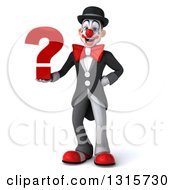 Clipart Of A 3d White And Black Clown Holding A Question Mark Royalty Free Illustration