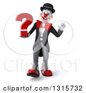 Clipart Of A 3d White And Black Clown Walking Waving And Holding A Question Mark Royalty Free Illustration