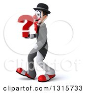Clipart Of A 3d White And Black Clown Walking To The Left And Holding A Question Mark Royalty Free Illustration