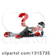 Clipart Of A 3d White And Black Clown Resting On His Side And Holding A Question Mark Royalty Free Illustration