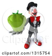 Clipart Of A 3d White And Black Clown Holding Up A Green Bell Pepper Royalty Free Illustration