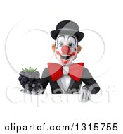 Clipart Of A 3d White And Black Clown Holding A Blackberry Over A Sign Royalty Free Illustration