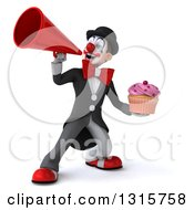 Clipart Of A 3d White And Black Clown Holding A Pink Frosted Cupcake And Announcing With A Megaphone Royalty Free Illustration