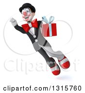 Clipart Of A 3d White And Black Clown Flying And Holding A Gift 2 Royalty Free Illustration