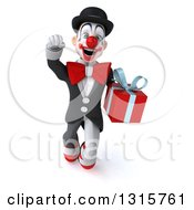 Clipart Of A 3d White And Black Clown Flying And Holding A Gift Royalty Free Illustration