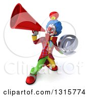 Clipart Of A 3d Colorful Clown Holding An Email Arobase At Symbol And Announcing Upwards With A Megaphone Royalty Free Illustration