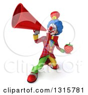 Clipart Of A 3d Colorful Clown Holding A Strawberry And Announcing Upwards With A Megaphone Royalty Free Illustration