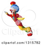 Clipart Of A 3d Colorful Clown Flying To The Left And Holding A Banana Royalty Free Illustration