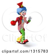 Clipart Of A 3d Colorful Clown Walking To The Right Waving And Holding A Tomato Royalty Free Illustration