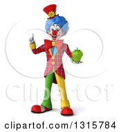 Clipart Of A 3d Colorful Clown Holding Up A Finger And A Green Bell Pepper Royalty Free Illustration