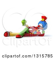 Clipart Of A 3d Colorful Clown Resting On His Side And Holding A Green Bell Pepper Royalty Free Illustration