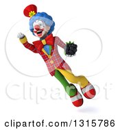 Clipart Of A 3d Colorful Clown Flying And Holding A Blackberry Royalty Free Illustration