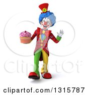 Clipart Of A 3d Colorful Clown Walking Waving And Holding A Pink Frosted Cupcake Royalty Free Illustration