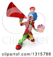 Clipart Of A 3d Colorful Clown Holding A Pink Frosted Cupcake And Announcing Upwards With A Megaphone Royalty Free Illustration