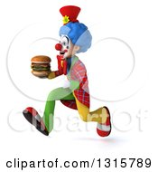 Clipart Of A 3d Colorful Clown Sprinting To The Left And Holding A Double Cheeseburger Royalty Free Illustration