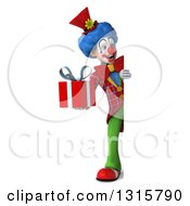 Clipart Of A 3d Full Length Colorful Clown Holding A Gift And Looking Around A Sign Royalty Free Illustration