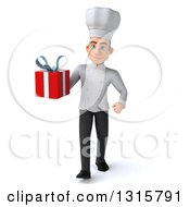 Clipart Of A 3d Young White Male Chef Walking And Holding A Gift Royalty Free Illustration
