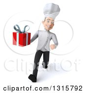 Clipart Of A 3d Young White Male Chef Speed Walking And Holding A Gift Royalty Free Illustration