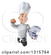 Clipart Of A 3d Young White Male Chef Flying With A Euro Symbol Royalty Free Illustration