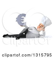 Clipart Of A 3d Young White Male Chef Resting On His Side And Holding A Euro Symbol Royalty Free Illustration
