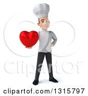 Clipart Of A 3d Young White Male Chef Holding A Red Heart Royalty Free Illustration