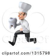 Clipart Of A 3d Young White Male Chef Sprinting To The Left And Holding A Tooth Royalty Free Illustration