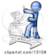 Blue Man Exercising On A Cross Trainer Clipart Illustration
