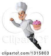Clipart Of A 3d Young White Male Chef Flying With A Pink Frosted Cupcake Royalty Free Illustration