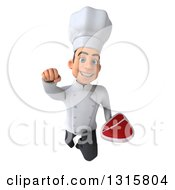 Clipart Of A 3d Young White Male Chef Flying With A Beef Steak Royalty Free Illustration