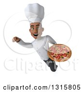Clipart Of A 3d Young Black Male Chef Flying With A Pizza Royalty Free Illustration
