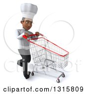 Clipart Of A 3d Young Black Male Chef Walking Slightly To The Right With An Empty Shopping Cart Royalty Free Illustration
