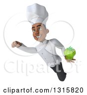Clipart Of A 3d Young Black Male Chef Flying With A Green Bell Pepper Royalty Free Illustration