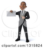 Clipart Of A 3d Happy Young Black Businessman Holding And Pointing An Envelope Royalty Free Illustration
