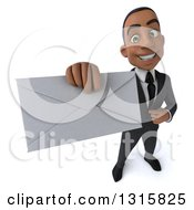 Clipart Of A 3d Happy Young Black Businessman Holding Up An Envelope Royalty Free Illustration