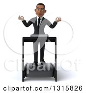 Clipart Of A 3d Young Black Businessman Meditating And Walking On A Treadmill Royalty Free Illustration